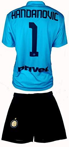 Completo HANDANOVIC Inter Ufficiale 2019-20 Bambino Uomo Adulto Maglia + Pantaloncini Pantaloncino Completino Nr. 1 Portiere Samir Capitano (S)