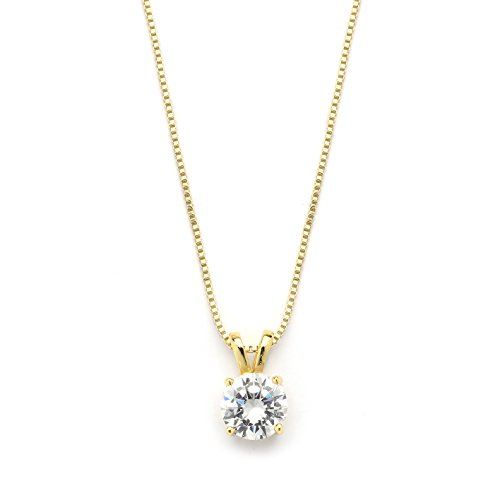 Mariell 2 Carat Round-Cut Cubic Zirconia Crystal Gold Pendant Necklace for Women, 14K Plated, 8mm CZ