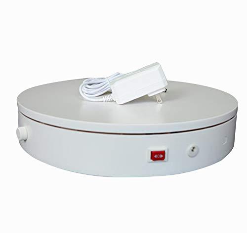 LINGOSHUN Plataforma Rotatoria de 360°,Soporte Exhibición Giratorio con Perilla, para Productos de Fotografía y Exhibición de Fotos,Velocidad Ajustable/Blanco / 32 cm Load 45 kg