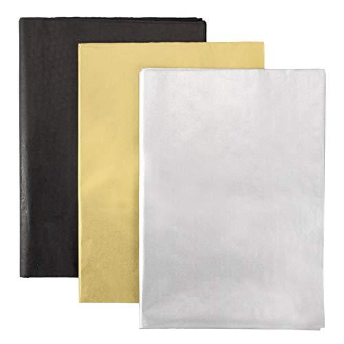 Whaline Lot de 60 feuilles de papier d'emballage en papier de soie, grand format 50,8x 71,1cm - pour remise de diplôme, bouteilles de vin et projets d'artisanat - Or, Argent et Noir
