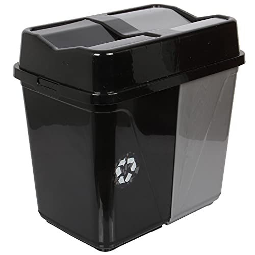 Double Rubbish Waste Separation Bin Recycling. Dual Compartment 40 L (2 x 20 L) (Grey-White)