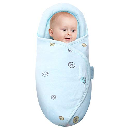 Knirose Newborn Swaddle Blanket amp Unisex Infant Wrap with HeadProtecting amp HeadSupporting Function Made of Combed Cotton Button Blue 03 Months