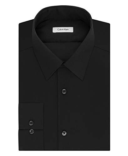 Calvin Klein Men's Dress Shirt Slim Fit Non Iron Herringbone, Black, 16.5' Neck 36'-37' Sleeve (Large)