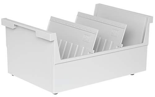 Han 855-0-11 - Cajón archivador para tarjetas (capacidad para 1000 tarjetas, A5, colocación horizontal, 226 x 160 x 325 mm), color gris