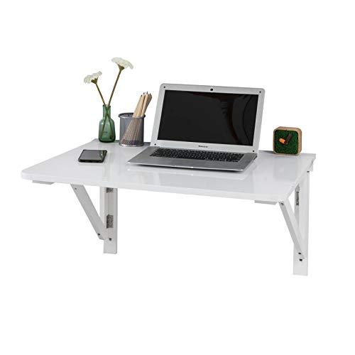 SoBuy Küchentisch, Wandklapptisch, Holztisch, Esstisch, Wandtisch, 75x60cm 2 Stützen, (O. Stühle), FWT05-W (Weiss)