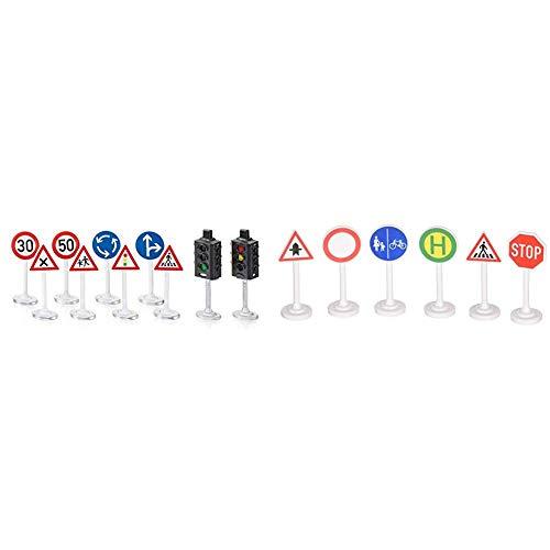 Siku 5597, Ampeln mit Verkehrsschildern, Kunststoff, Multicolor, Vielseitig einsetzbar & 0857 - Verkehrszeichen