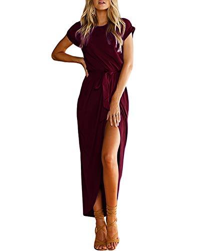 YOINS - Abito estivo da donna, lungo, maxi, da spiaggia, abito sexy a maniche corte in jersey, a maglia, girocollo, con cintura Vinaccia S