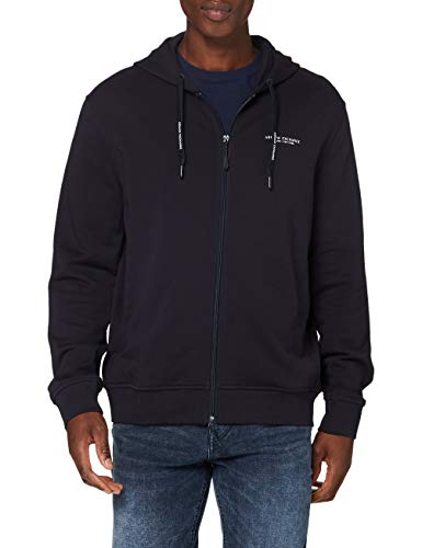 ARMANI EXCHANGE Everyday French Terry Hoodie Cappuccio, Blu (Navy 1510), X-Small Uomo