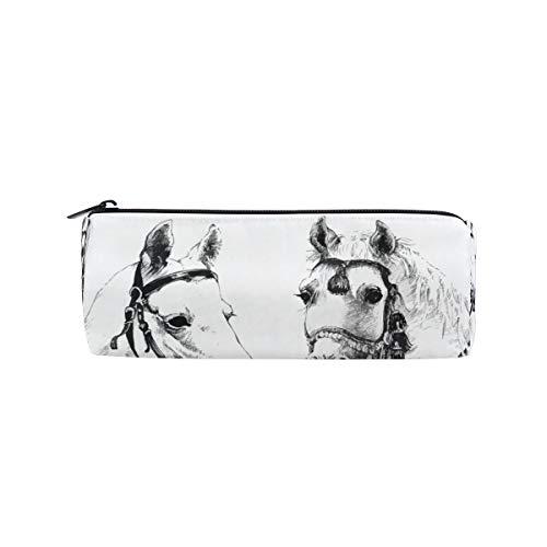 Ahomy - Estuche para lápices, diseño de caballos dibujados a mano, color blanco y negro, con cremallera, para adolescentes y niños, bolsa de maquillaje de viaje para mujeres