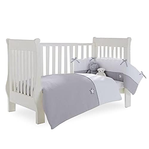 Clair de Lune Grey/White Silver Lining Cot/Cot Bed Quilt and Bumper Bedding Set