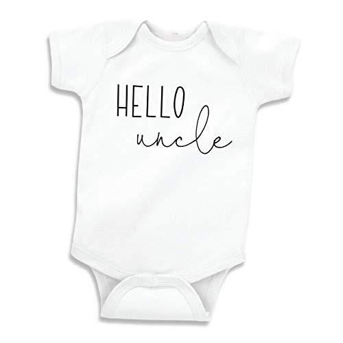 Hello Uncle Shirt Surprise Baby Announcement Gift Uncle (0-3 Months) Black