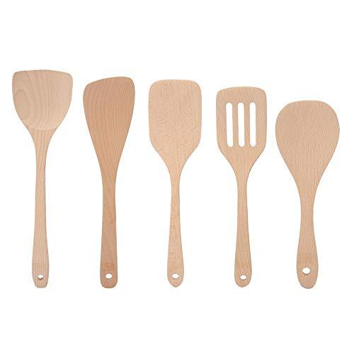 Juego de utensilios de cocina de madera de 5 piezas, espátula de madera, cucharas de madera para cocinar, volteador ranurado para utensilios de cocina antiadherentes