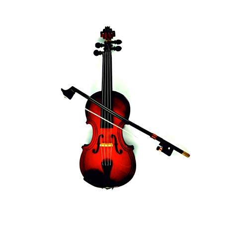 LS Realistic Wood Violin Musical Instrument,Christmas Ornament Holiday Accessories (5.51inch/14CM)