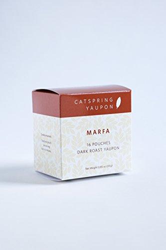 CatSpring Yaupon Box of Individual Tea Bags - Marfa Dark Roast Black Yaupon - Naturally Caffeinated & Made in the USA {16 Bags}