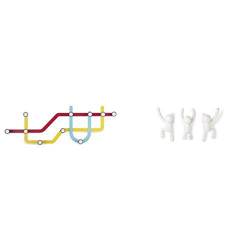 Umbra318187-370 Subway Multi Hook, Appendiabiti da muro & Umbra 318165-660 Buddy Appendiabiti, Bianchi