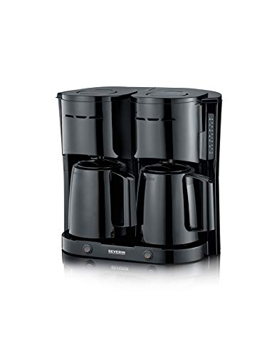 SEVERIN KA 5829 Duo-Filterkaffeemaschine mit 2 Thermokannen für jeweils bis zu 8 Kannen, 2 x 1.000 Watt, schwarz