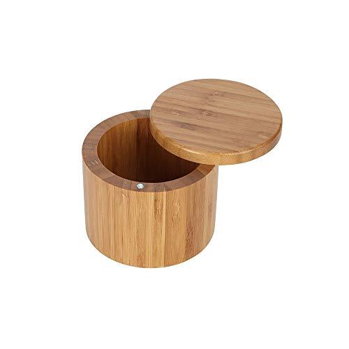 DeeCozy Caja de Sal de Bambú Redonda, Caja de Almacenamiento de Madera de Bambú Contenedor de Tapa Giratoria para Tarro de Condimento de Almacenamiento de Cocina
