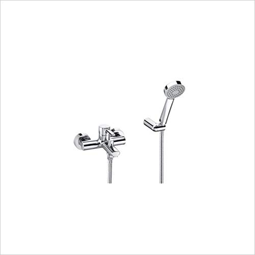Mezclador grifo de ducha / baño de pared de 1/2 pulgada con manguera flexible de 1,7 metros, auricular y soporte giratorio, 20,3 x 13,6 x 9 centímetros, color cromado (Referencia: 5262335J0)