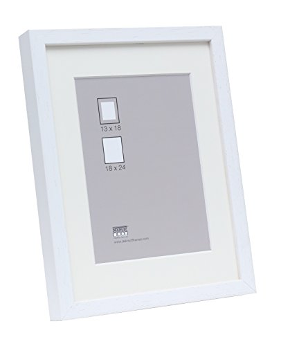 Deknudt Frames S223K1 Bilderrahmen 24x30 Basic, Weisse hohe Holzleiste mit Pptt - Bestellmass=Rahmenmass Holz Fotokader