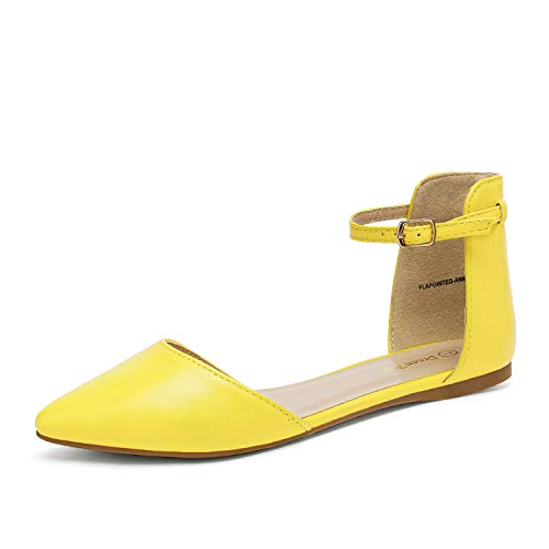 DREAM PAIRS Flapointed-Ankle Women's Casual D'Orsay Pointed Plain Ballet Comfort Soft Slip On Flats Shoes New Yellow Size 12
