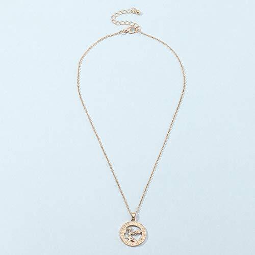 HJURTB 12 Collar con Colgantes de Constelaciones de Letras del Zodiaco para Mujer Virgo Libra Escorpio Sagitario Capricornio Acuario Regalo de cumpleaños