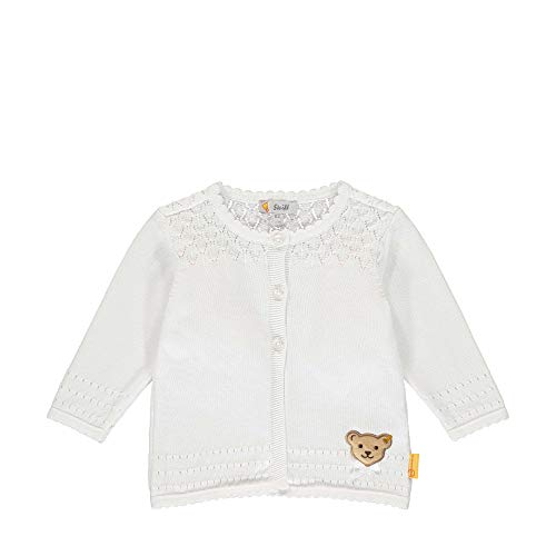 Steiff Baby-Mädchen Strickjacke, Weiß (Bright White 1000), 56 (Herstellergröße: 056)