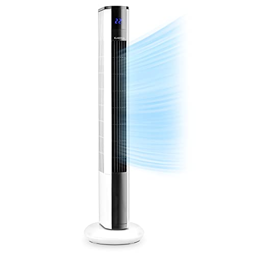 Klarstein Skyscraper 3G - Ventilador de columna, Bajo Consumo, Función oscilación 90º, 3 Niveles de Velocidad, Programable, Panel táctil, Filtro Integrado, Mando a Distancia, 48 W, Blanco floral
