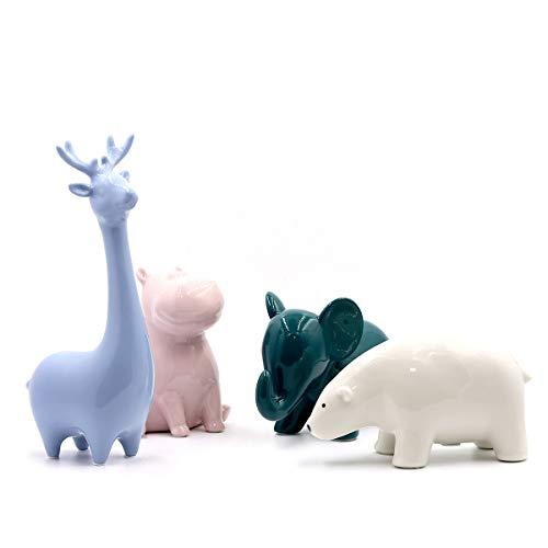 Saidan SD Conjunto Figuras de Cerámica Oso Elefante Hipopótamo y Reno Ideales para Decorar y Regalar (Oso Polar Blanco)