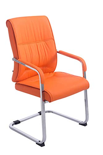 CLP XXL-Freischwinger Anubis mit Kunstlederbezug und gepolsterter Sitzfläche I Pflegeleichter Konferenzstuhl mit Armlehne, Farbe:orange