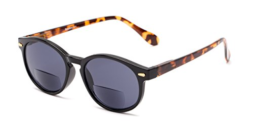 Readers.com Reading Sunglasses: The Drama Bifocal Reading Sunglasses Plastic Round Style for Men and Women - Black/Tortoise with Smoke, 2.00