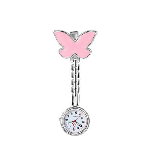 Cxypeng Taschenuhr Krankenschwestern Uhr,Tragbare Mode Schmetterling Clip Krankenschwester Uhr, niedlichen Studenten Prüfung Tasche Uhr-Pulver,Schwesternuhr Taschenuhr