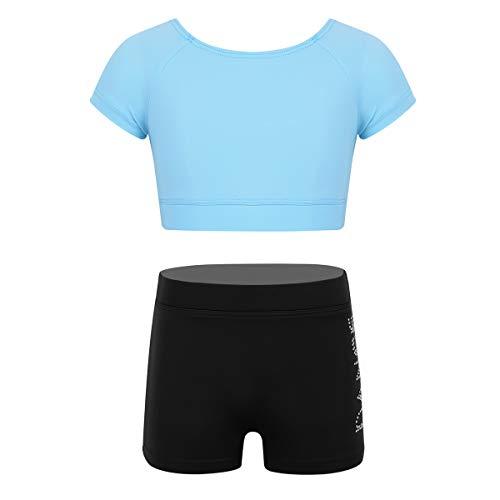 YOOJIA Niñas Traje Bailarina 2Pcs Camiseta Mangas Corta/Pantalónes Cortos Estampado de Danza Ropa Deoportiva Ejercicio Gimnasia 3-12 Años Azul Claro 7-8 Años
