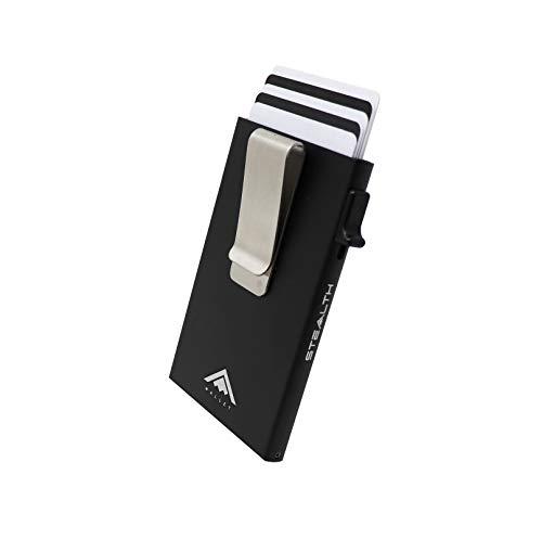 STEALTH Wallet - Titolare della carta di credito Ejector di alluminio minimalista con blocco RFID e confezione regalo (Nero con fermasoldi)