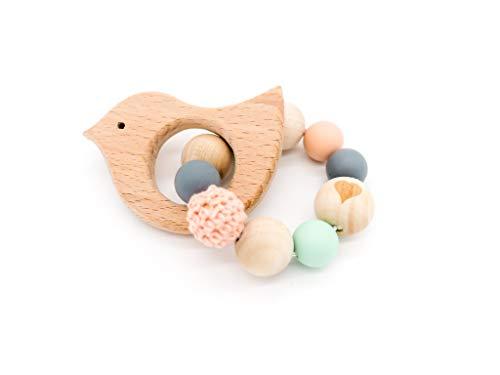 Holz Beißring Vogel, Greifling, Baby, zahnen, Beißkette