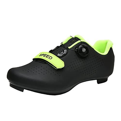 KUXUAN Zapatillas de Ciclismo para Hombre Mujer Spin Shoestring con Tacos Compatibles Peloton Shoe Lock Pedal Bike Shoes,Black+Green-42EU