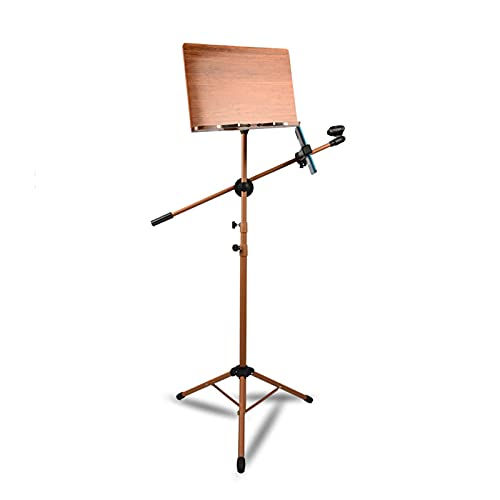 liangzishop Soporte de música portátil, Soporte de proyector, Soporte portátil, Soporte para portátil, Soporte de Tableta con Bolsa de Transporte y micrófono, marrón