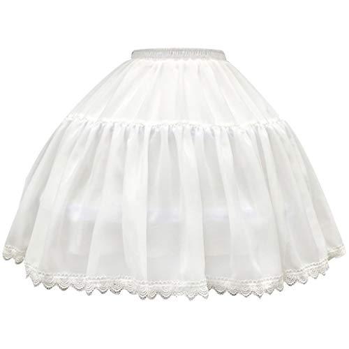 Only y Damen Pettico, kurz, Reifen, Rührung, Käfig Tasche, 2 Hoop Lolita Cosplay Spitze Crinoline für Hochzeit Kleid Tutu Rock
