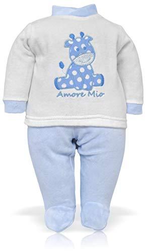 Pelele de chenilla para bebé con diseño de jirafa bordada con lunares y frase «Amore Mio (conjunto de 2 piezas, camiseta y pola)» azul claro 0-3 meses