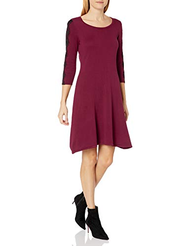 NINE WEST Women's 3/4 Fit & Flare Dress with Lace Detail at Sleeve