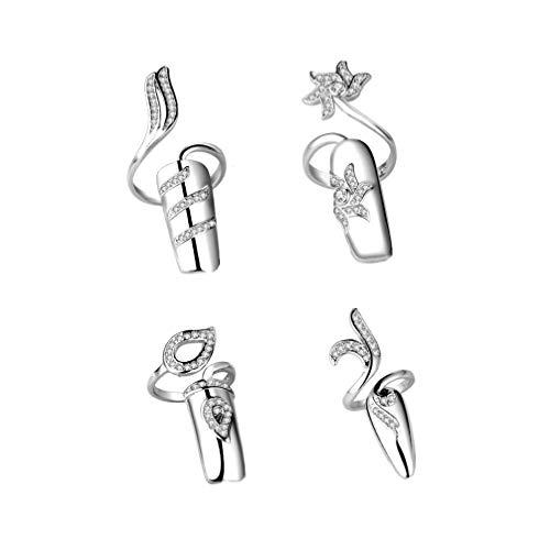 Minkissy Nagel Ring Strass Fingernagel Ringe Nagelspitzen Dekoration für Frauen Dame Maniküre Kunst Dekor Parteibedarf (Silber) 1 Satz / 4 Stück