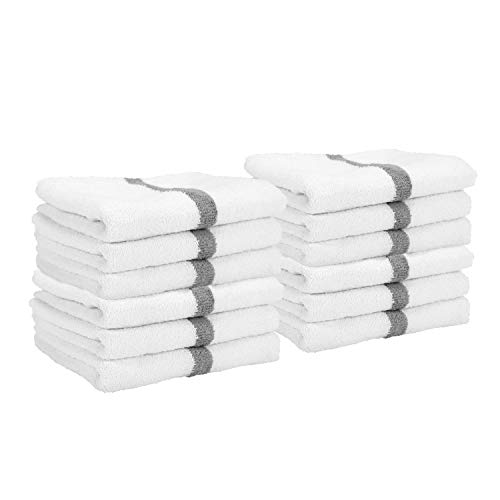 Arkwright LLC Cotton White Hand Towels with Grey Center Stripes, Pack of 12 Absorbent Gym Towel for Hotel, Spa (16 x 27 Inch)