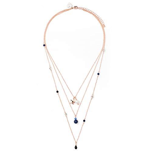 PIPPA&JEAN Lange Halskette Rosegold mehrreihig rekonstruierter Stein Glassteine Glasperlen