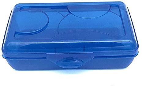 Snap-Closed Transparent Pencil Case Box for School (Blue)
