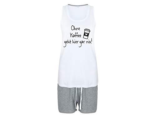 Tachinedas Kreativshop Damen Shorty Pyjama mit Spruch Ohne Kaffee geht Hier gar nix (S)