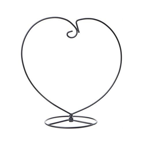 AGUOGUO Micro Landscape Eco Flaschenhalter Vase Stand Herzform Air Pflanze Ständer Blume Topf Ständer Halter Eisenständer Hängende Glas (Color : Black, Sheet Size : Large)