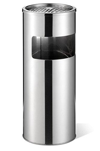 Durable 337323 Posacenere a Colonna Cilindrico, con Sabbia e Cestino, Acciaio Inossidabile, 620 x 260 mm, Argento Metallizzato