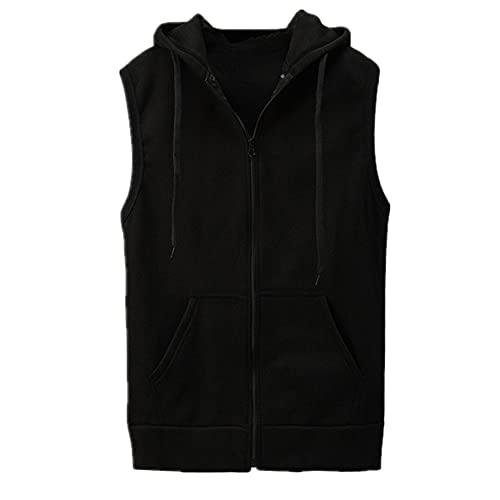 Chaleco con capucha para hombre sin mangas con cremallera y bolsillo para entrenamiento