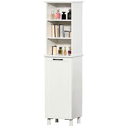 HOMCOM Badezimmerschrank Badschrank Highboard Küchenschrank mit Wäschekorb Regale Ungewebter Stoff MDF Weiß 40 x 27 x 171,5 cm