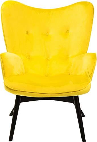 Kare Design Sessel Vicky Velvet, samtiger Loungesessel, TV-Sessel mit dunklem Holzgestell, (H/B/T) 92 x 59 x 63 cm, gelb