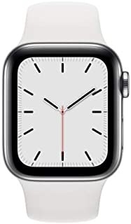 Apple Watch Series 5 (GPS + Cellular, 44MM) - Silver Stainless Steel Case with White Sport Band (Renewed)